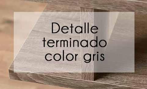 Detalle terminado madera color gris