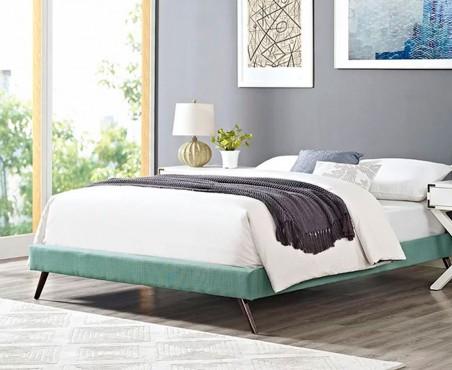 Habitación decorada con cama modelo Malabo matrimonial lino aqua