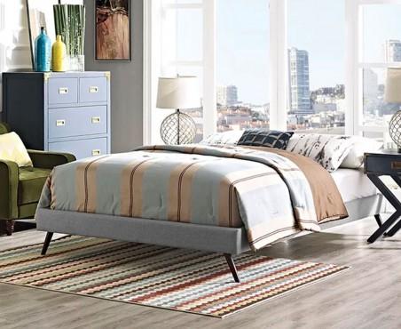 Habitación decorada con cama modelo Malabo lino gris quantum ash