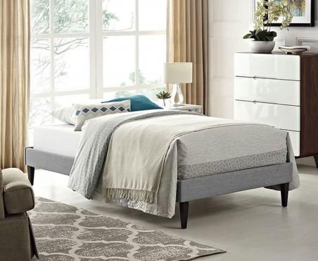 Recámara cama modelo Tokio individual lino gris claro