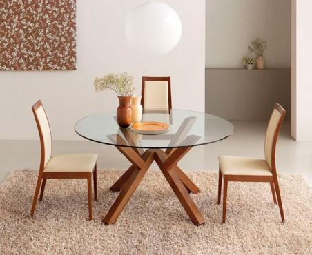 Comedor circular 4 sillas valencia madera viva for Sillas comedor valencia