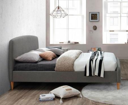 Cama tapizada color gris modelo Ontario Madera VIVA