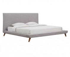 Base cama matrimonial tapizada tela gris modelo California