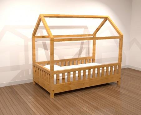 Cama de madera infantil en forma de casita