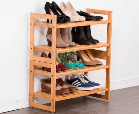 Organiza 12 pares de zapatos en este rack modular de madera.